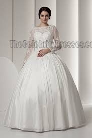 elegant long sleeve ball gown floor length wedding dresses