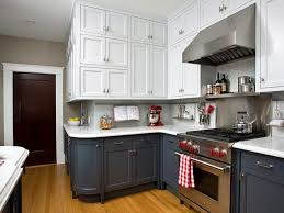 two tone kitchen cabinets brown and white stainless steel