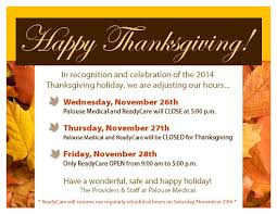 thanksgiving message to employees thanksgiving 2014 office hours u2013 palouse medical