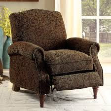 Fabric Recliner Chair Furniture Of America Vargo Paisley Brown Push Back Recliner Chair