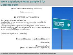 catering cook experience letter