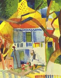 Painting Of House by Inner Courtyard Of House In St Germain 1914 August Macke