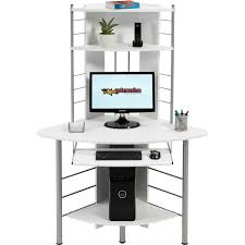 furniture triangle white wooden corner desk with triangle shelves