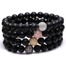 mens black bead bracelet images Mcllroy bracelets men black bead bracelet white zircon ball paved jpg