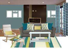 colored gray grey living room with teal accents teal white living