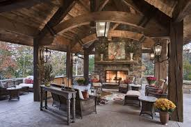 Stone Wall Sconce Rustic Patio With Stacked Stone Fireplace By Locati Architects