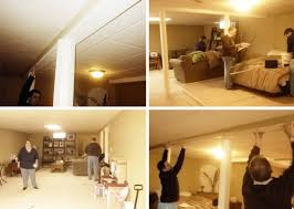 curtain track system used as a room divider in our basement