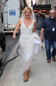 city wedding dress photos of and cattrall in a wedding dress