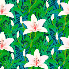 Tropical Decor Vector Seamless Floral Pattern With Tropical Decor Like Big White