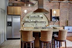 Comfortable Bar Stools With Backs Kitchen Silver Refrigerator Under Wooden Cabinet And Brick Wall