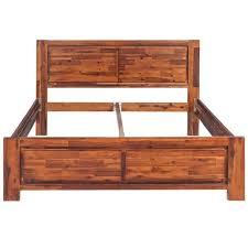 lits et cadres de lit cadre de lit bois d acacia massif marron 140