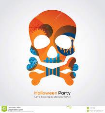 halloween party skull illustration for invitation card poster