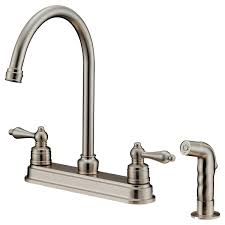 Clearance Kitchen Faucet Steel Wide Spread Brushed Nickel Kitchen Faucet Two Handle Pull