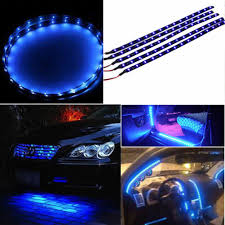 5x 30cm waterproof 15 blue led car vehicle motor grill flexible