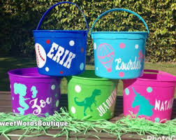 personalized easter buckets easter basket etsy