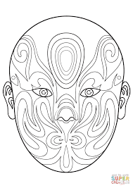 chinese opera mask 6 coloring page free printable coloring pages