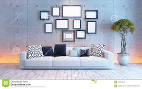 wall interior living room interior design with concrete wall and picture frame