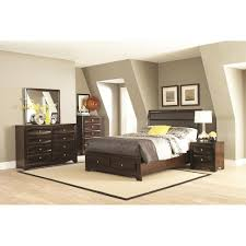queen bed with upholstered headboard and storage footboard