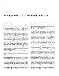 Matrix Worksheets Step 3 Generate The Experimental Design Matrix Guidelines For