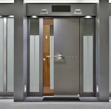 modern front door designs modern main door design with gray polished metal mixed brown plywood