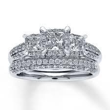 diamond bridal sets jared diamond bridal set 1 1 2 ct tw princess cut 14k white gold