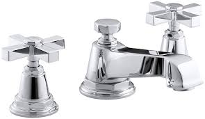 bathroom sink faucets amazon kohler k 13132 3a cp pinstripe pure widespread lavatory faucet