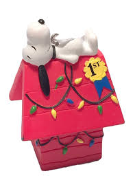 hallmark peanuts snoopy on doghouse ornament