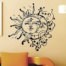 vinyl wall sticker decals sun crescent ethnic dual symbol moon