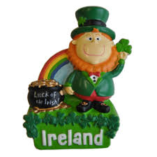 resin magnet with ireland leprechaun with rainbow and pot of gold