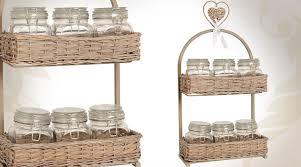bocaux decoration cuisine panière en osier avec 6 bocaux en verre