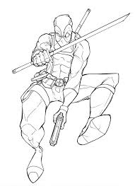 deadpool coloring pages with sword and gun coloringstar