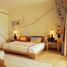 Beautiful Brown Color Nuance Bedroom Light Brown Wood Platform Bed Brown Nightstands Desk