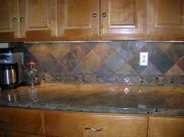 slate backsplash tiles for kitchen interior colored slate tile with wooden furniture application