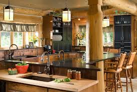 Counter Height Kitchen Island - rustic counter height kitchen rustic with valance cafe curtains