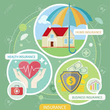 insurance icons set concepts of home insurance health insurance