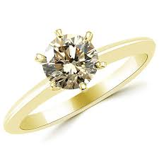 brown diamond engagement ring 1 carat chagne brown diamond solitaire 6 prong engagement ring