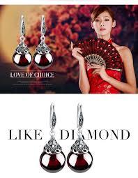 EDI Retro Round Gemstone Garnet Earrings Female  925