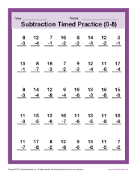 subtraction timed 0 8 kindergarten 1st grade math worksheets