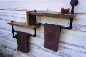 kitchen towel rack ideas bathroom towel rack with two reclaimed oak shelves 149 00 via