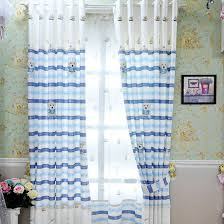 White And Blue Curtains Light White Blue Yarn Print Nautical Striped Sheer Curtains