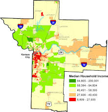 kansas city metro map census 2000 kansas city metro region median household income