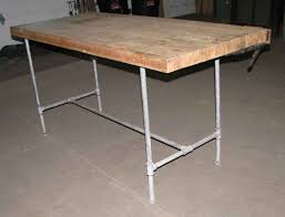 steel pipe frame work bench with butcher block top olde good things