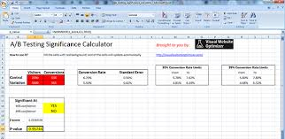 Excel Test Plan Template A B Testing Significance Calculator