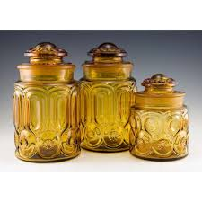 retro art glass amber moon and star kitchen canister set