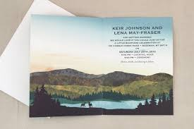 mountain wedding invitations appalachian blue and green modeled mountains at sunset greeting