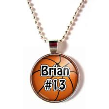 personalized basketball necklace personalized cabochon glass basketball necklace with your name and