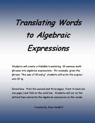 translating verbal expressions into algebraic expressions worksheets 14 best translating expressions images on teaching