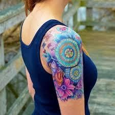 colorful unique flower sleeve woman u0027s tattoo uncategorized