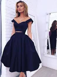 gorgeous two piece off the shoulder a line dark navy homecoming