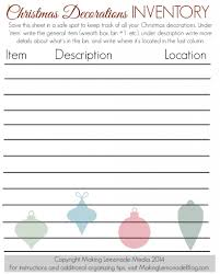 free printable christmas decorations inventory list making lemonade